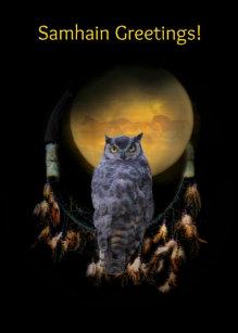 Samhain cards zazzle uk owl and dream catcher samhain card m4hsunfo
