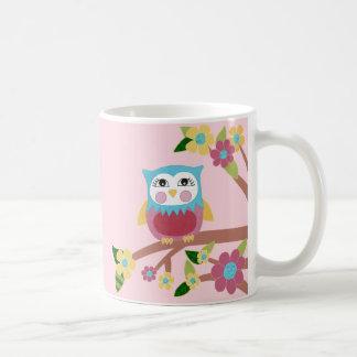 Owl and flowers mug