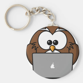 Owl and its Mac Basic Round Button Key Ring