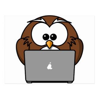 Owl and its Mac Postcard