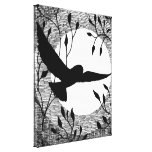 Owl and Moon Cross Hatched Stretched Canvas Print
