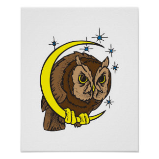 Owl and Moon Tattoo Design Poster