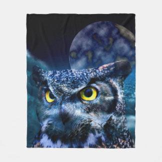 Owl and Night Sky Fleece Blanket