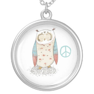 Owl and peace necklace