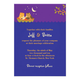 Owl and Pussycat (Purple) Wedding Personalized Announcements