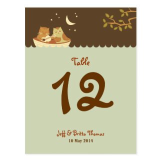 Owl and Pussycat Wedding Dusk Table Number Postcard