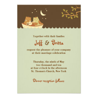 Owl and Pussycat Wedding Personalized Invites
