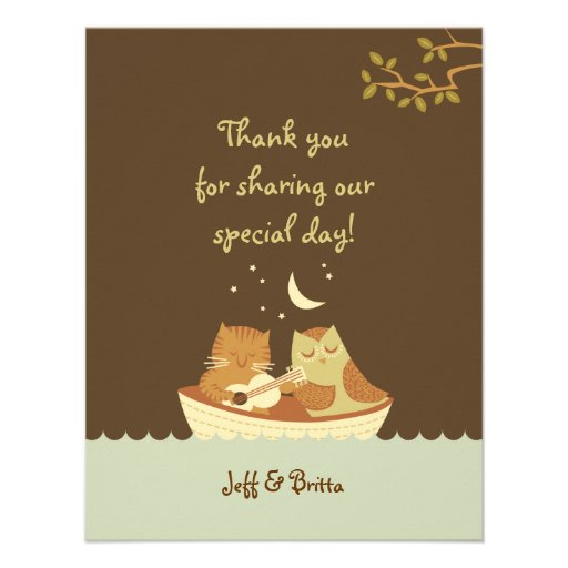 Owl and Pussycat Wedding Thank You Invites