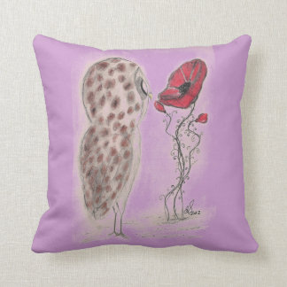 Owl And Red Poppy - American MoJo Pillows Cushion