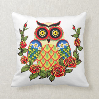 Owl and Roses Mexican style Cushion