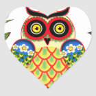 Owl and Roses Mexican style Heart Sticker