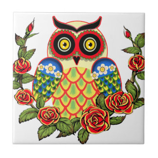 Owl and Roses Mexican style Small Square Tile