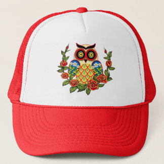 Owl and Roses Mexican style Trucker Hat