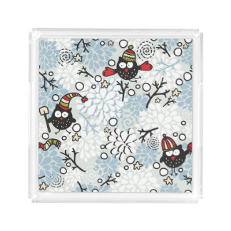 Owl and snow pattern acrylic tray