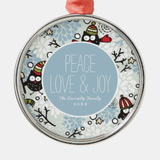 Owl and snow pattern christmas ornament