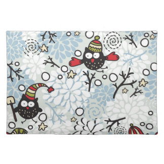 Owl and snow pattern placemat