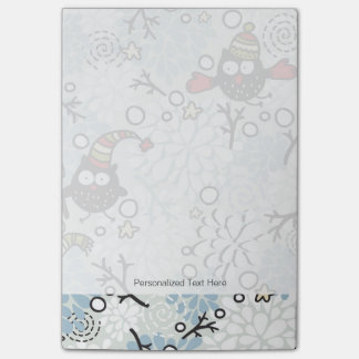 Owl and snow pattern post-it notes