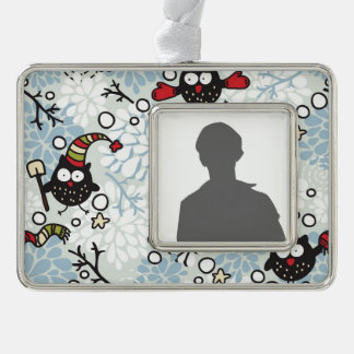 Owl and snow pattern silver plated framed ornament