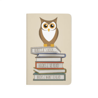 Owl and Stack of Books Journals