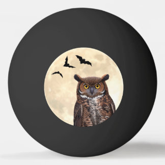 Owl and The Full Moon Ping Pong Ball