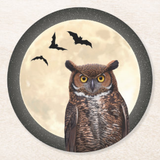 Owl and The Full Moon Round Paper Coaster