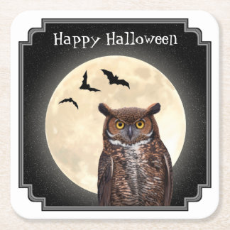 Owl and The Full Moon Square Paper Coaster