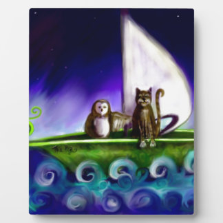owl and the pussycat modern vibrant illustration plaque