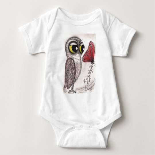 Owl and the Red Poppy Baby Bodysuit