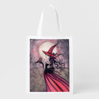 Owl and Witch Fantasy Art Reusable Shopping Bag
