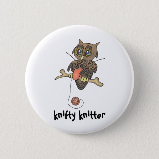 owl and yarn knifty knitter 6 cm round