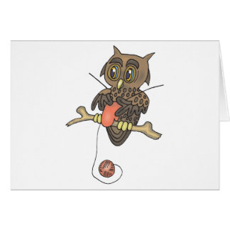 owl and yarn knifty knitter greeting card