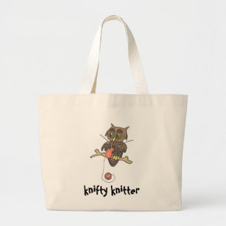 owl and yarn knifty knitter large tote bag