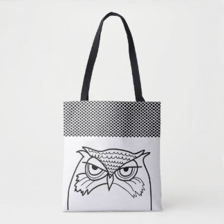 Owl Angry Artistic Sketch Polka Dots Black White Tote Bag