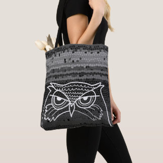 Owl Angry Artistic Sketch Stylish Mosaic Unique Tote Bag