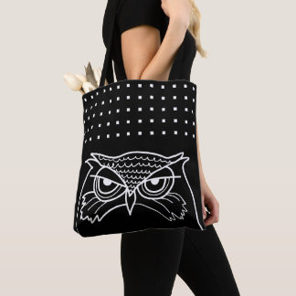 Owl Angry Sketch Art  Square Pattern Cool Black Tote Bag