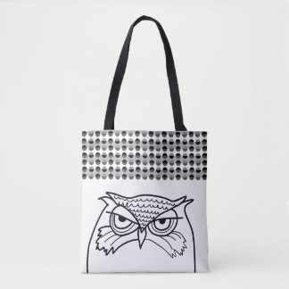 Owl Angry Sketch Polka Dots Black White Retro Cool Tote Bag