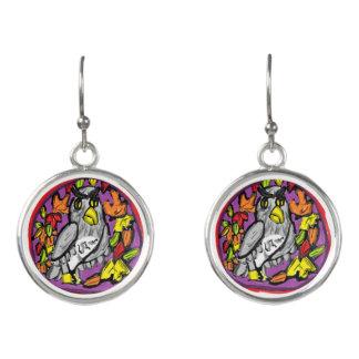 Owl art earrings
