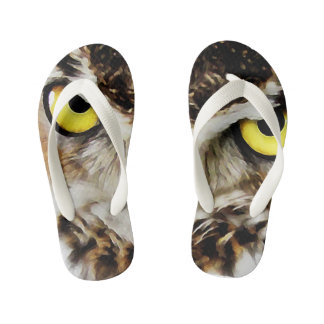 Owl Art Kids Flip Flops