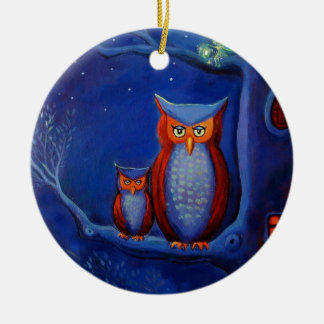 "Owl Art Ornament - ""The Forest At Night'"