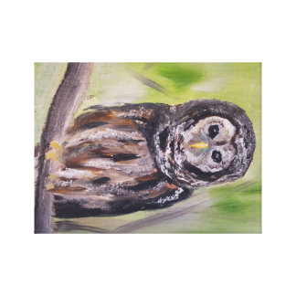 Owl Artwork, Oil Painting Print Gallery Wrap Canvas