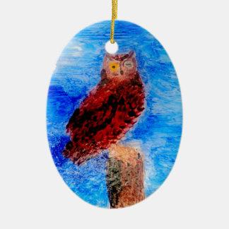 Owl at Night Bird Art Christmas Ornament