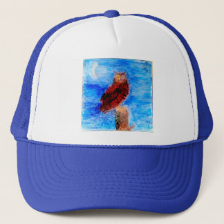 Owl at Night Bird Art Trucker Hat