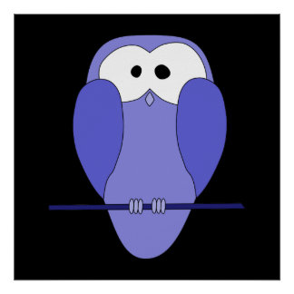Owl at Night Blue black Poster