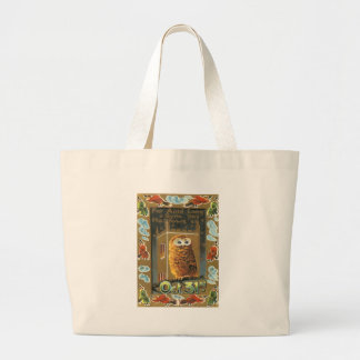 Owl Auld Lang Syne Flying Witch Halloween Large Tote Bag