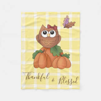 Owl Autumn Fall Harvest Pumpkin Yellow Plaid Fleece Blanket