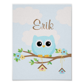 Owl Baby Boy blue personalized poster