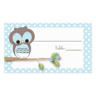 Owl Baby Placecard | Blue Business Card Template