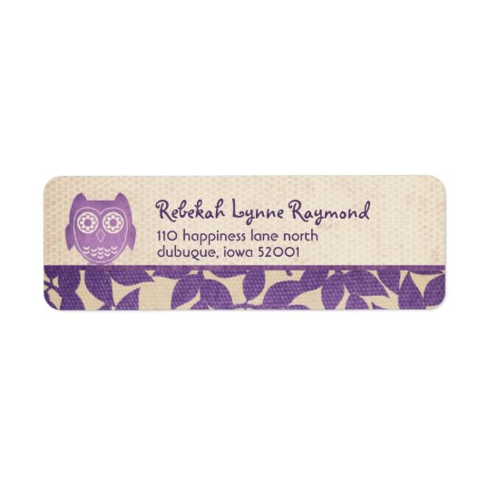Owl Baby Purple Return Address Labels