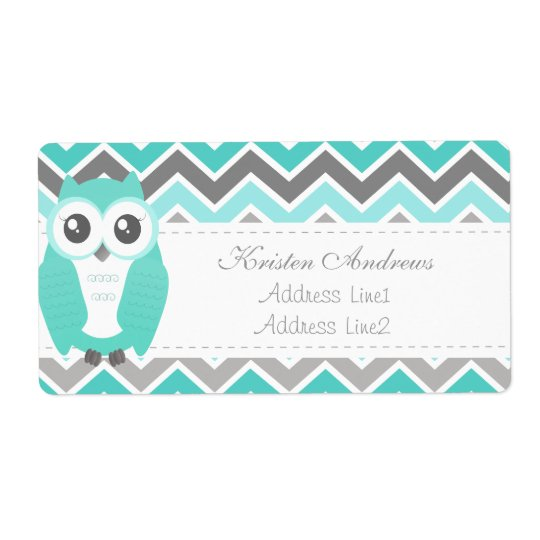 Owl Baby Shower Address Label Green Chevron