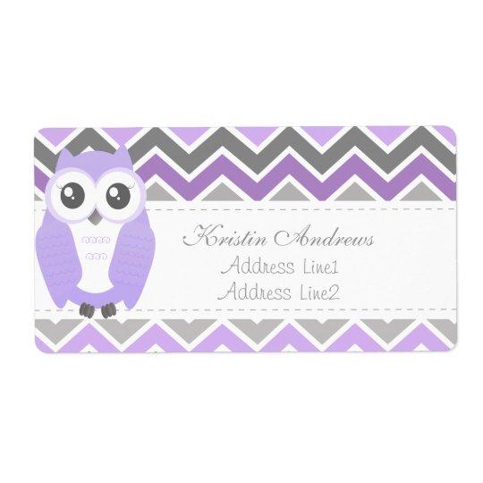 Owl Baby Shower Address Label Lilac Chevron
